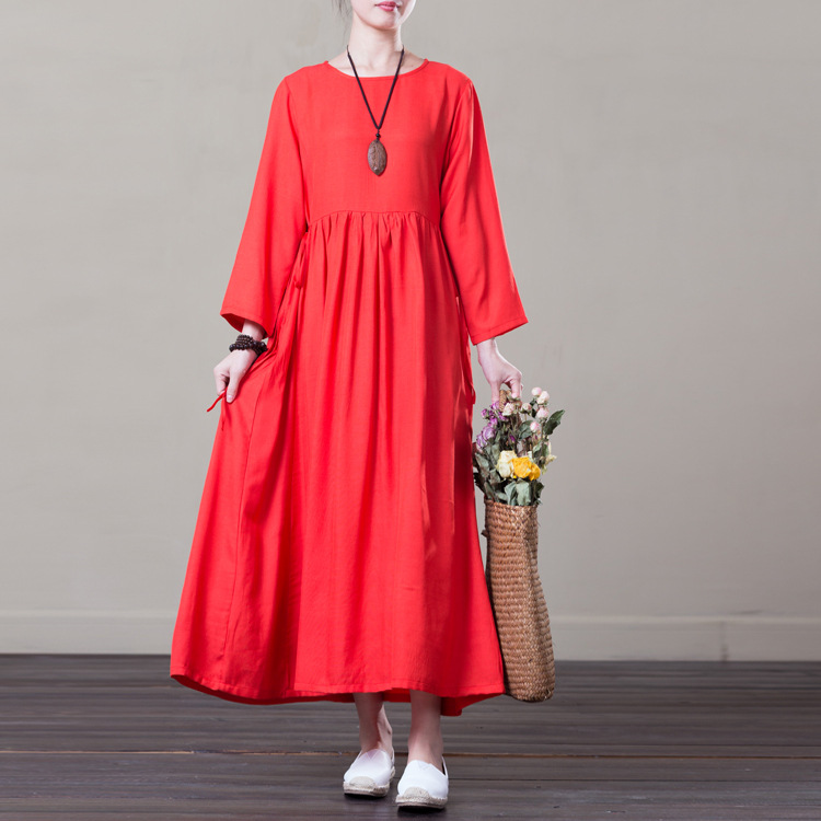 88806723f95 Spring Summer Plus Size Cotton Linen Dresses Women Solid Loose A Line  Female Casual Dress 3 4 Sleeve Clothing Green yellow Red-in Dresses from  Women s ...
