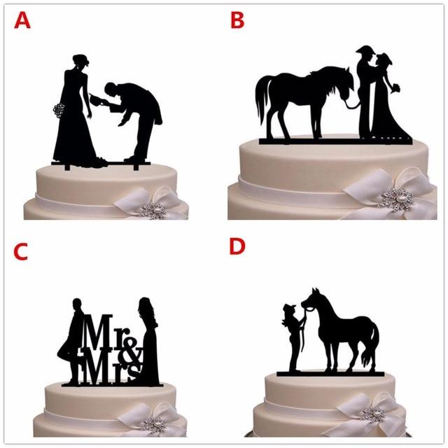 Free Shipping Western Style Bride & Groom Silhouette Wedding Cake ...