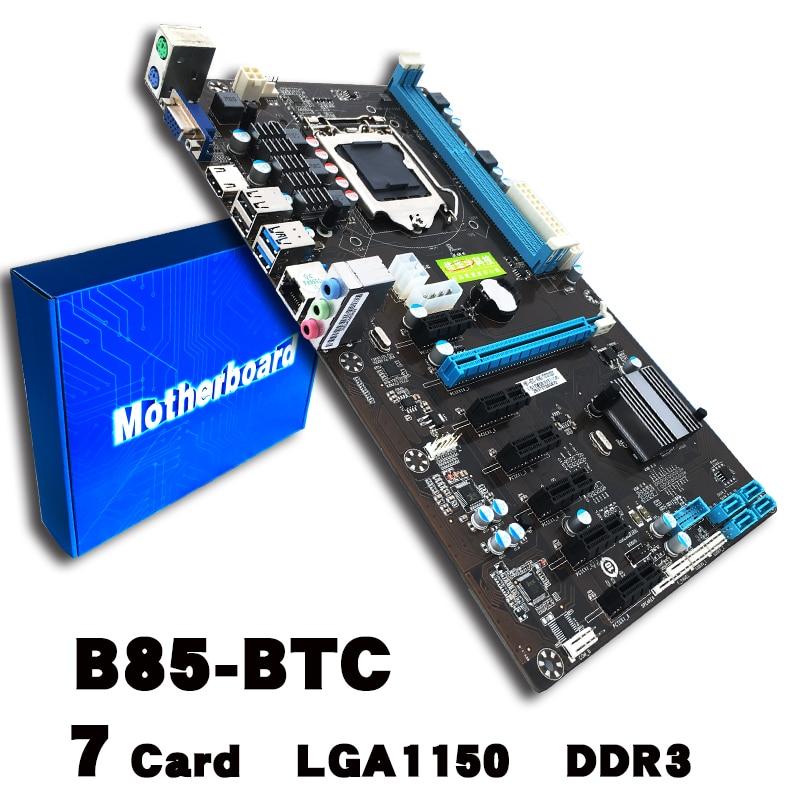 B85-BTC LGA 1150 Bitcoin Mining Motherboard PCI-E USB3.0 UB2.0 Directly Slots Mainboard For Intel DDR3 Memory Type btc 6411