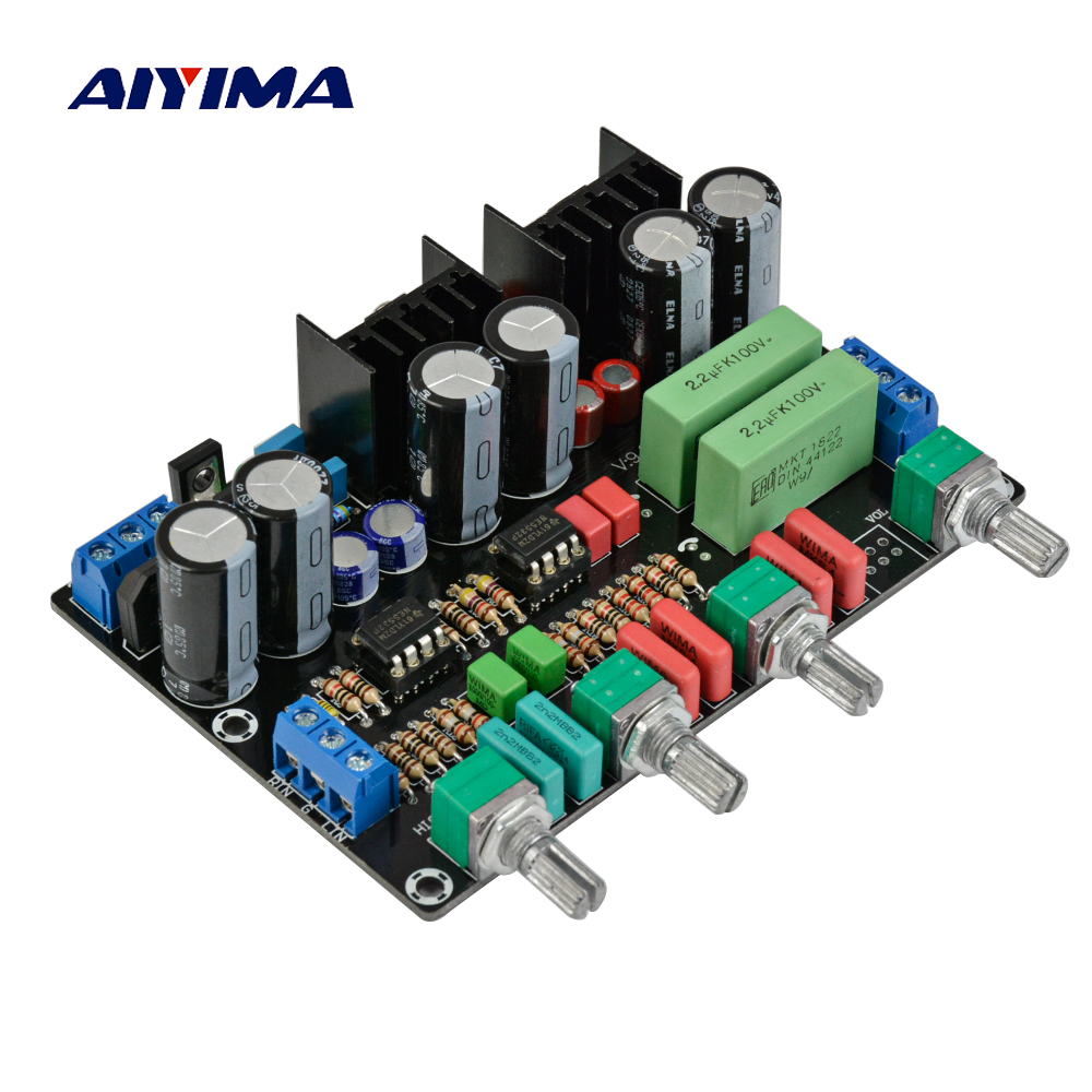 Aiyima 2604 4972 Pre amplifier music Volume Tone Control Board Fever op amp preamplifier AC Dual 9V-15V music hall luxury fully balanced pre amp hifi preamplifier xlr input remote control led refer to ml380s