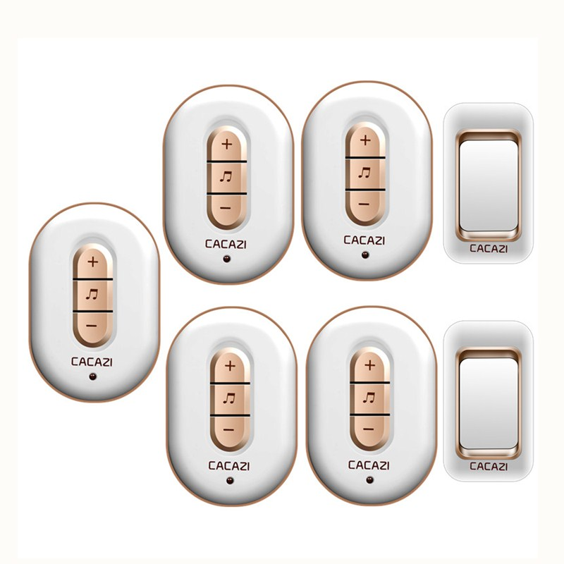 CACAZI AC 110-220V waterproof smart 300M remote wireless doorbell 2 transmitters+5 receivers 48 melodies 6 volume door chime cacazi a9 3 ac 75 250v wireless doorbell 1 waterproof button 3 receivers 52 ringtones 4 volume 300m remote electronic doorbell