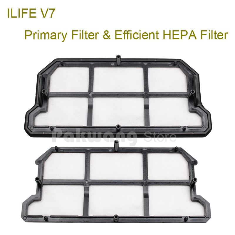 Original ILIFE V7  Robot Vacuum Cleaner Accessories, Efficient HEPA Filter 1 pc and Primary Filter 1 pc from factory original ilife v7 primary filter 1 pc and efficient hepa filter 1 pc of robot vacuum cleaner parts from factory