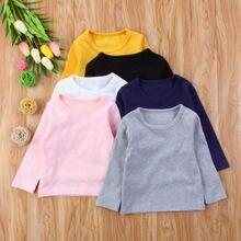 Pudcoco/Милая хлопковая блузка ярких цветов с длинными рукавами и круглым вырезом для маленьких девочек