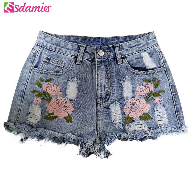 Fashion Broderi Ripped Denim Shorts Blomster High Waist Jeans Kort Femme Frayed Hole Shorts For Women Plus Size Summer Shorts