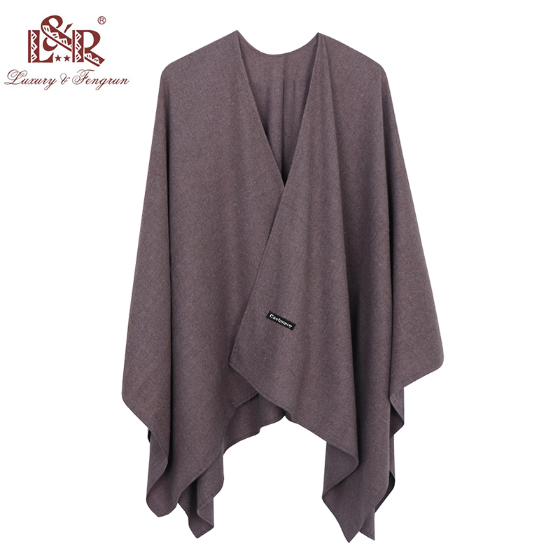 Image 3 - 2019 140*140mm Winter Square female Poncho Cashmere Wool Women Poncho Scarf  Solid Foulard Femme Pashmina Shawl Winter Excharpe-in Women's Scarves from Apparel Accessories