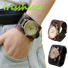 Irisshine #1173 Men And Women watches New Style Retro Punk Rock Brown Big Wide Leather Bracelet Cuff Men Watch Cool