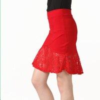 S 5XL True Photos Women Elegant Lace Red Mini Skirts 2017 Summer New Fashion Mermaid Skirt