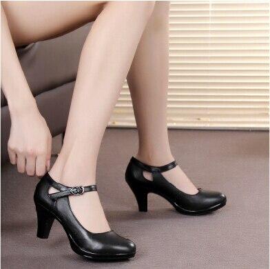 Натуральная кожа женщины УДОБНЫЕ черные каблуки рабочая обувь женские насосы sy-767