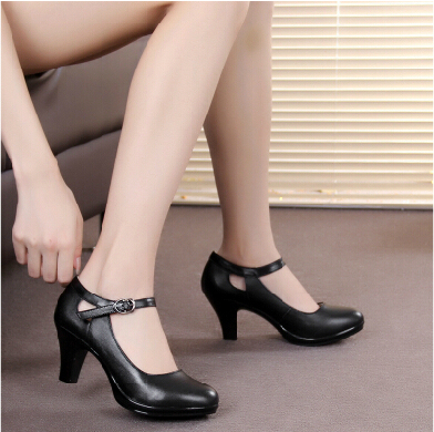 genuine leather women COMFORTABLE black heels work shoes female pumps sy-767