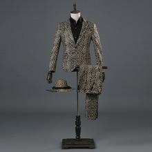 Leopard Suit Bar Singer PerforMence Night Club Mens Cultivate Ones Morality 2 Piece Suits Men Coat Pants Hip Hop