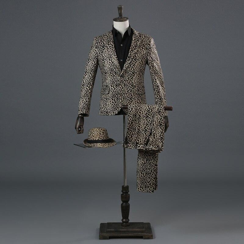 Costume Homme Fashion Imprimé Léopard Veste Garçon Robe Performance Slim