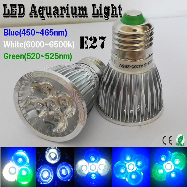(1 pieces/lot) Spektrum Penuh LED Tumbuh Cahaya E27 Akuarium DIPIMPIN Pencahayaan, Tangki ikan Pencahayaan, aluminium Radiator