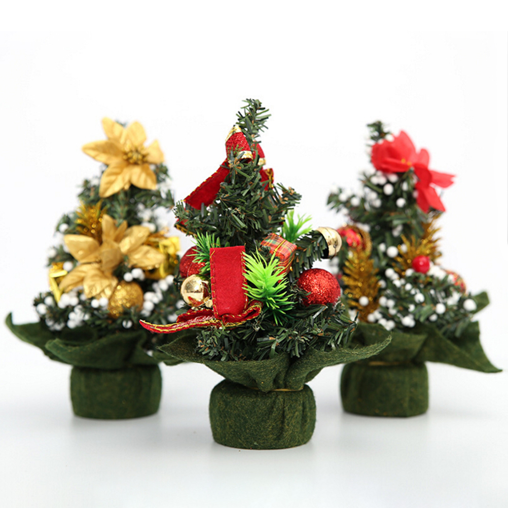 Small decorated christmas tree - Mengxiang 20cm Mini Small Tiny Artificial Christmas Tree Table Ornament Home Holiday Indoor Xmas Decoration Party
