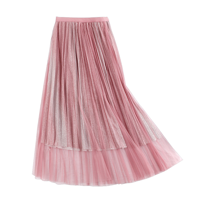 GTGYFF pink beige blue stretch high waist ombre midi pleated glitter tulle skirt for women ladies office princess skirts womens