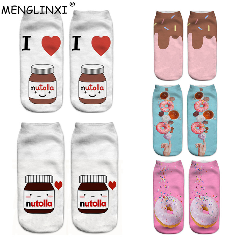 2019 New Food And Fruit Print 3D Socks Women Kawaii Ankle Licorne Femme Girls Cute Emoji Funny Socks Happy Calcetines