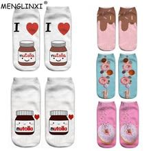 2019 New Food And Fruit Print 3D Socks Women Kawaii Ankle Licorne Femme Girls Cute Emoji Funny Happy Calcetines