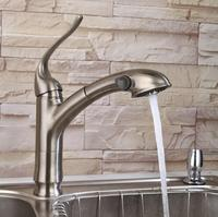 High Quality Brass Construction Nickle Brushed Pull Out Sprayer Kitchen Faucet Mixer Taps