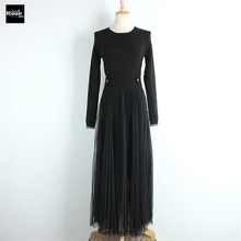 2018 New Winter Spring Basic Knitted Sweater Dresses Women Pleated Tulle Dress Knit Floral Casual Dress Autumn Knitwear Vestidos