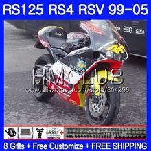 RS4 для Aprilia RS 125 99 00 01 02 03 04 05 122HM26 желтого и красного цветов, RSV125R RS-125 RSV125 R 1999 2000 2001 2002 2003 2005 обтекатели