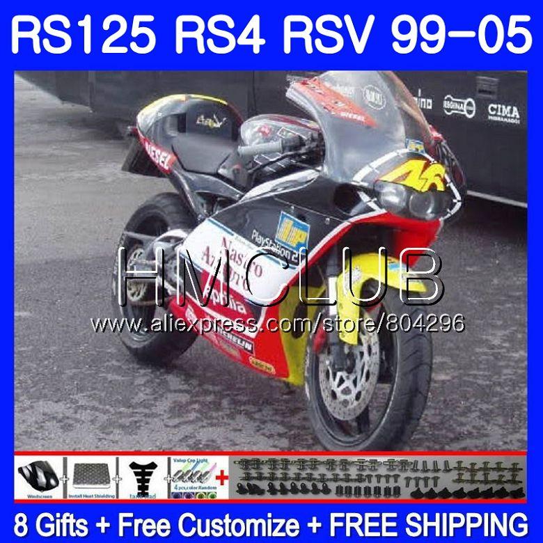 RS4 Para Aprilia RS 125 99 00 01 02 03 04 05 122HM26 Amarelo vermelho RSV125R RS-125 RSV125 R 1999 2000 2001 2002 2003 2005 Carenagens