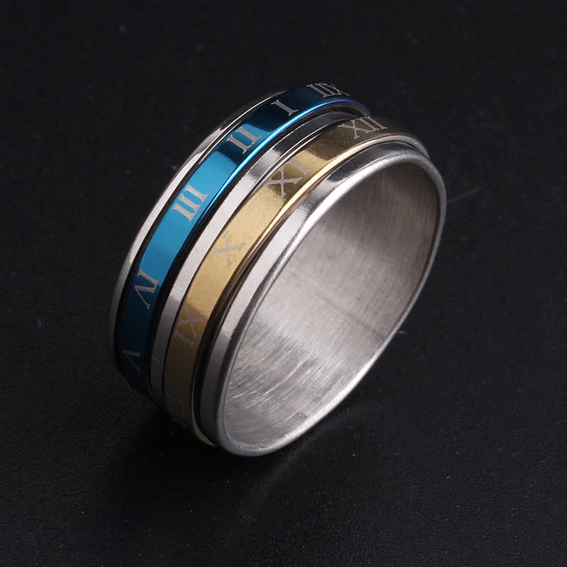 10mm gold color Blue Rome digital rotation 316L Stainless Steel wedding rings for men women wholesale