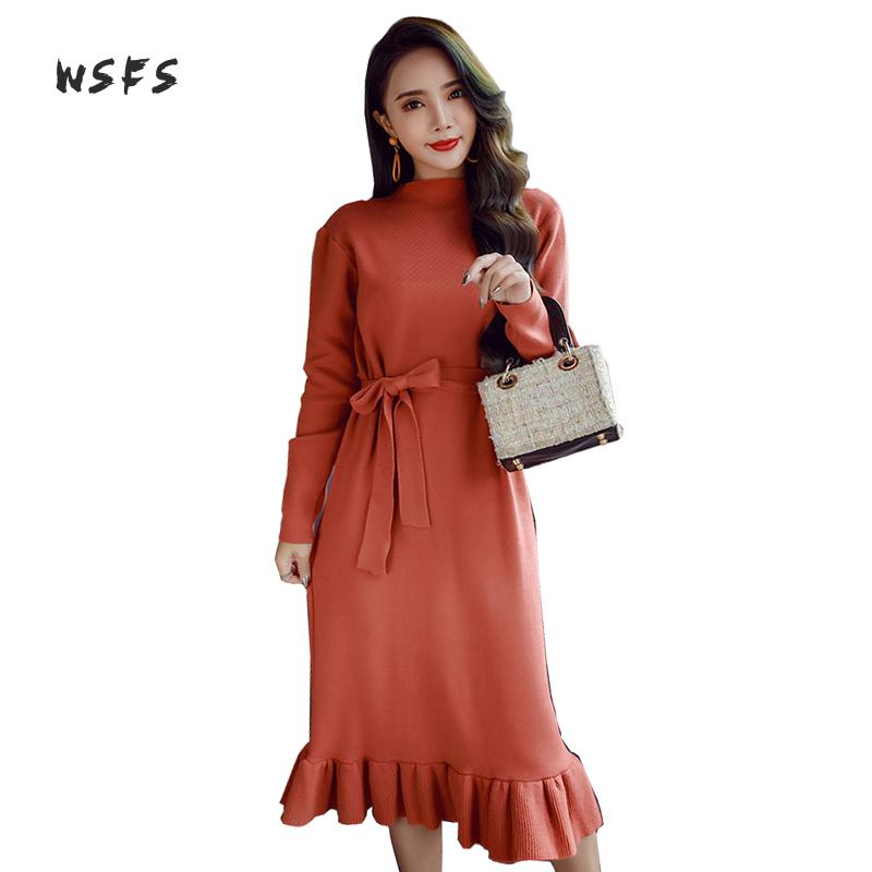 Wsfs Autumn Winter Dresses Black Orange Purple Long Sleeve Bandage Women Dress Lady Vintage Party Midi Knitted Sweater Dress