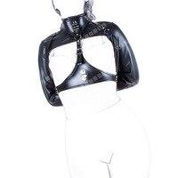 New Black PU Leather Fun Women Sexy Tied Bondage Collar Open Chest Costumes Bondage Restraints Couple