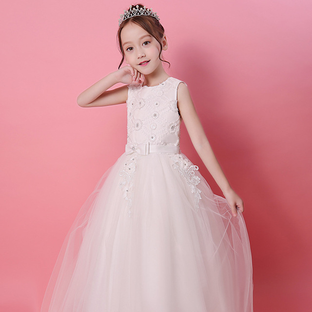 0e3e39acf01 New Fairy Puffy Tulle Flower Beading Lace A-line Long Flower Girls Dresses  For Wedding Gilrs First Communion Prom Party Dresses