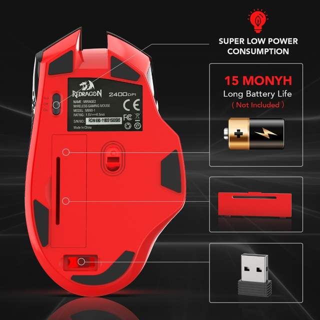 Redragon Professional Wireless Gaming Mouse 8 Buttons Mice