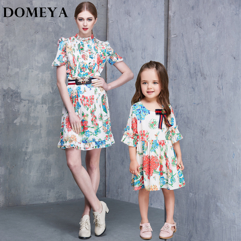 Domeya 2017 New Spring fashion Dress Cute Print mother and daughter soft dresses clothes thin family matching clothes JHGR008 2016 spring family fashion clothing half sleeve elegant floral print dress clothes for mother and daughter baby girls dresses