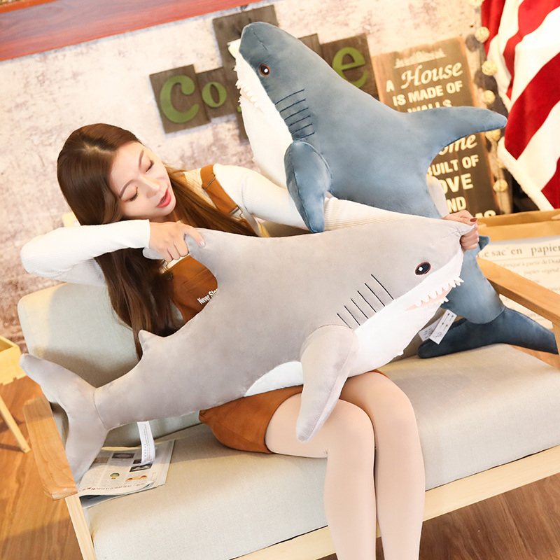 80/100/130cm Big Size Funny Soft Bite Shark Plush Toy Pillow Appease Cushion Gift For Children