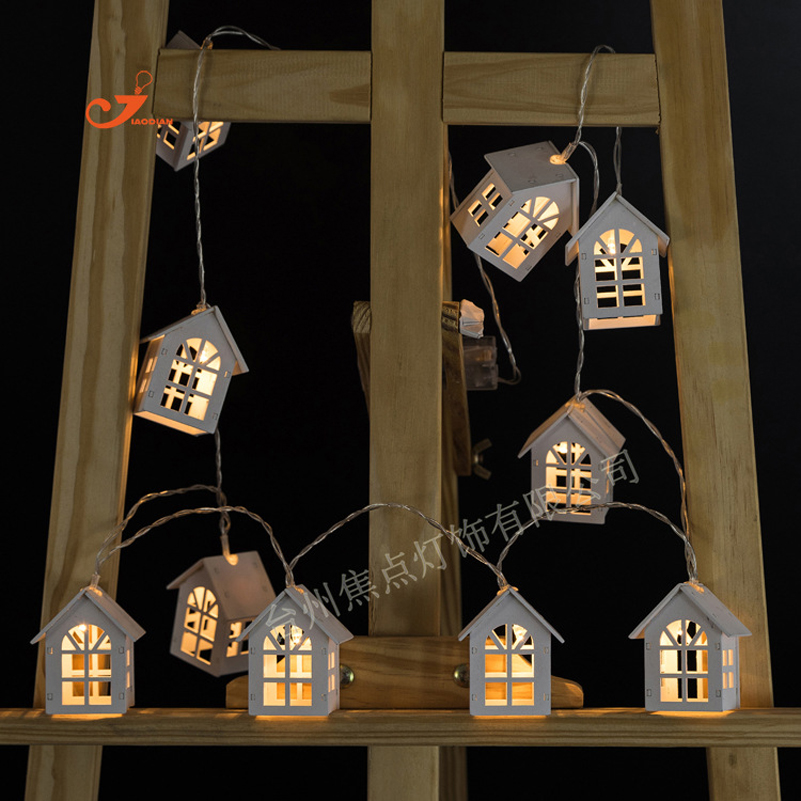Battery Operation Wooden Christmas Tree String Lights With 10 LED House Shape Child Kids Favor Gifts