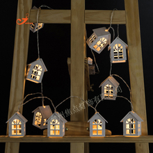 Battery Operation Wooden Christmas Tree String Lights With 10 LED House Shape Child Kids Favor Gifts Bedroom Garden Lights Decor