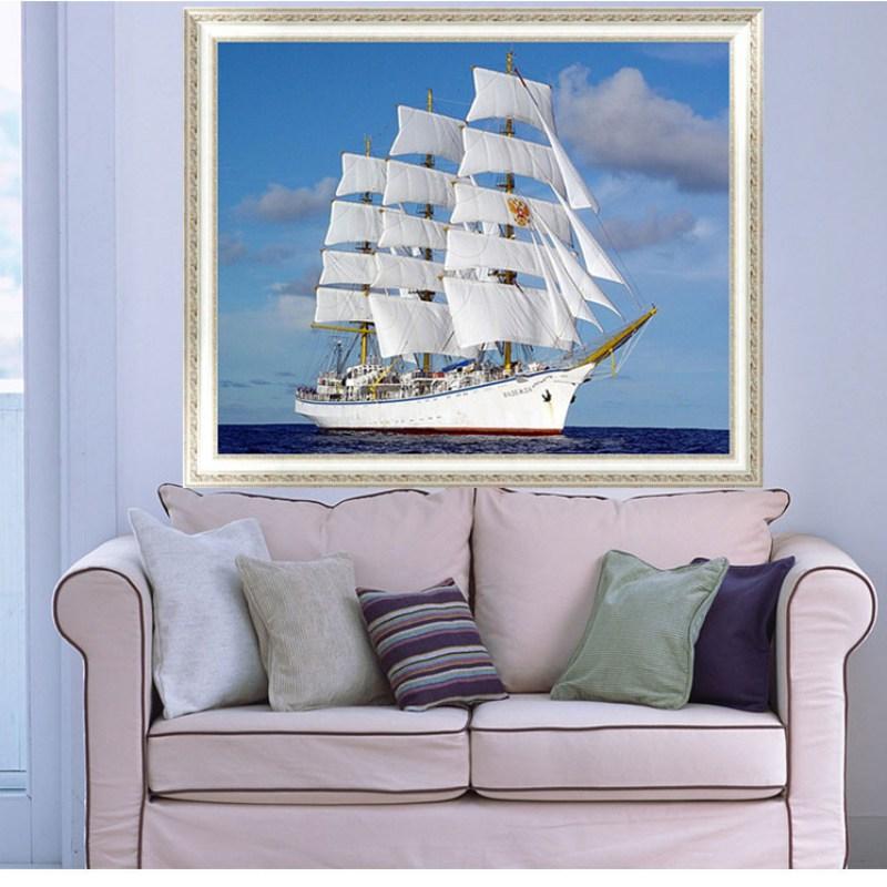 5D bricolage diamant mur autocollant bateau bateau peinture voile point de croix plein carré forage strass ruban broderie artisanat