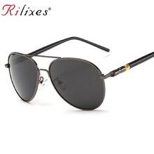 3620b3f819 RILIXES UV400 Pilot Yurt gafas de sol hombres polarizadas gafas de sol  marca Logo diseño conducción gafas Oculos gafas de sol