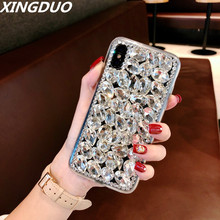 XINGDUO Bling Rhinestone Crystal Diamond Soft Back Phone Case Cover For iPhone X XS XR XS MAX 7 8 8Plus 6 6s Plus 5 5S SE 5C стоимость