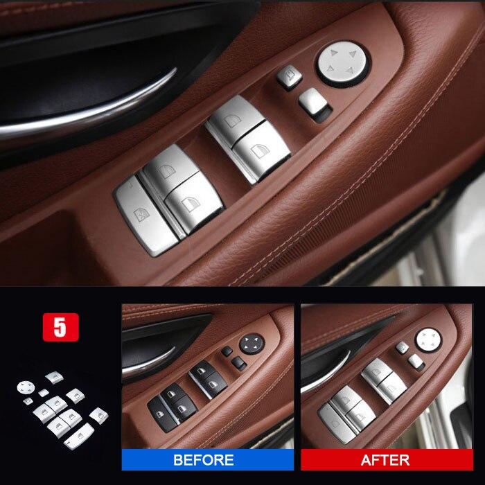520 525 Matt Chrome Door Window Switch panel cover trim BMW 5 Series F10 2011