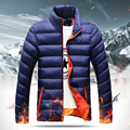 New Men Solid Winter Warm Down Jacket Padded Parka Thicken Stand Collar Outerwear Big Size Plus XXXXL Y2117