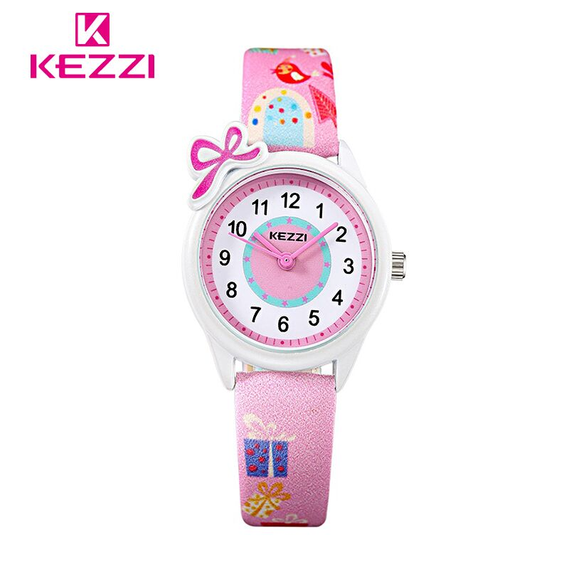 KEZZI Children Kids Watch Bow-knot Girls Quartz Wrist Watch Unique Design PU Leather Watch For Girls Boys montre enfant Gift 2015 new fashion boys girls silicone digital watch for kids mickey minnie cartoon watch for children christmas gift clock watch