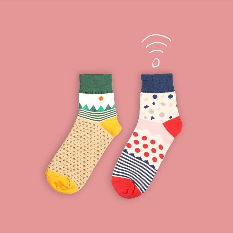Woman   Socks   1 Pair Long Cotton Geometry Mixed Color National Printed Novelty Long Art Korean Fashion Winter   Socks   Lady