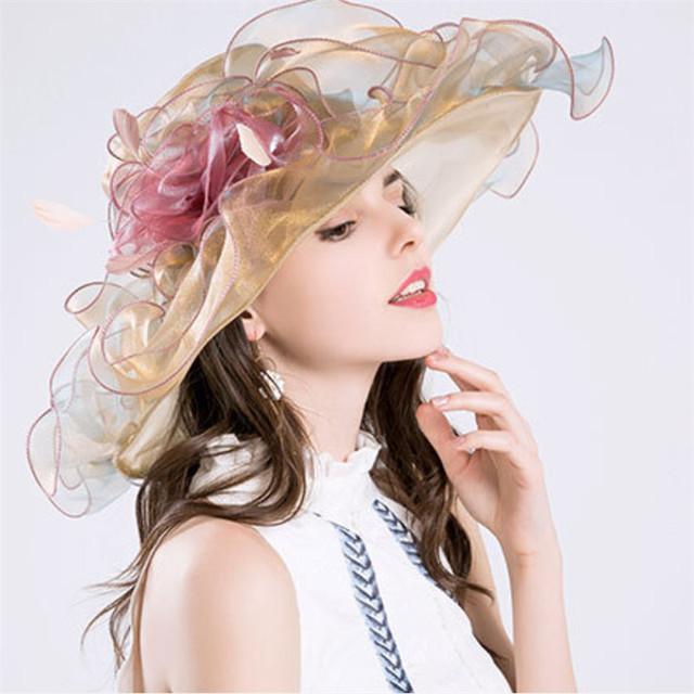 2017 Brand New Women Kentucky Derby Hats Organza Hat Church Wedding Fl Wide Large