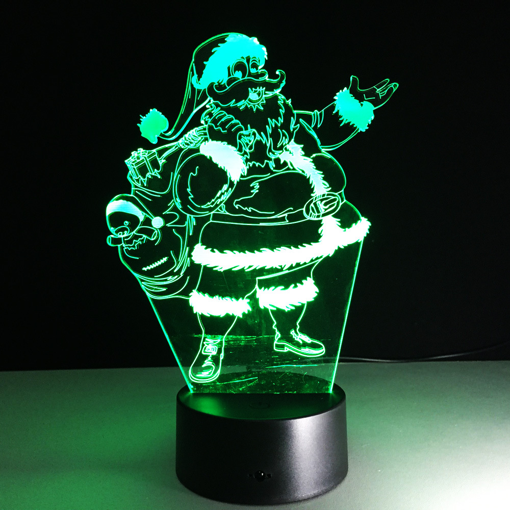 3D X'MAS Santa/Snowman/Tree/Sled/Deer Atmosphere lamp 7 Color Changing Visual illusion LED Decor Lamp Christmas Decoration Gifts