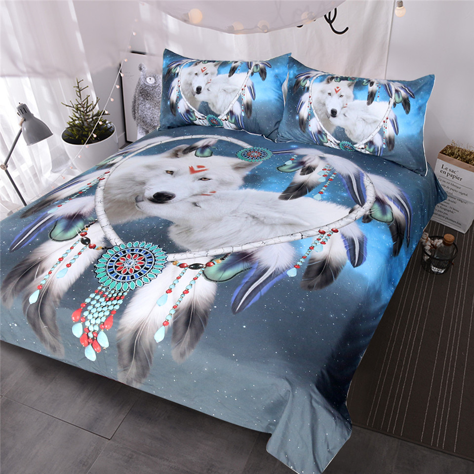 BlessLiving Wolves Couple Bedding Set Native American Wolf Duvet Cover Tribal Animal Galaxy Bed Set Heart