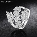 Mecresh Olive Branch Micro CZ Rings For Women Rhodium /Gold Plated Fashion Statement Jewelry Bague Femme Anillos Mujer JZ021
