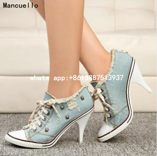 Brand Mancuello boots Women sexy Thin High Heel Lace-Up Rivets Jeans Denim Shoes Fashion Casual Canvas Shoes female Pumps
