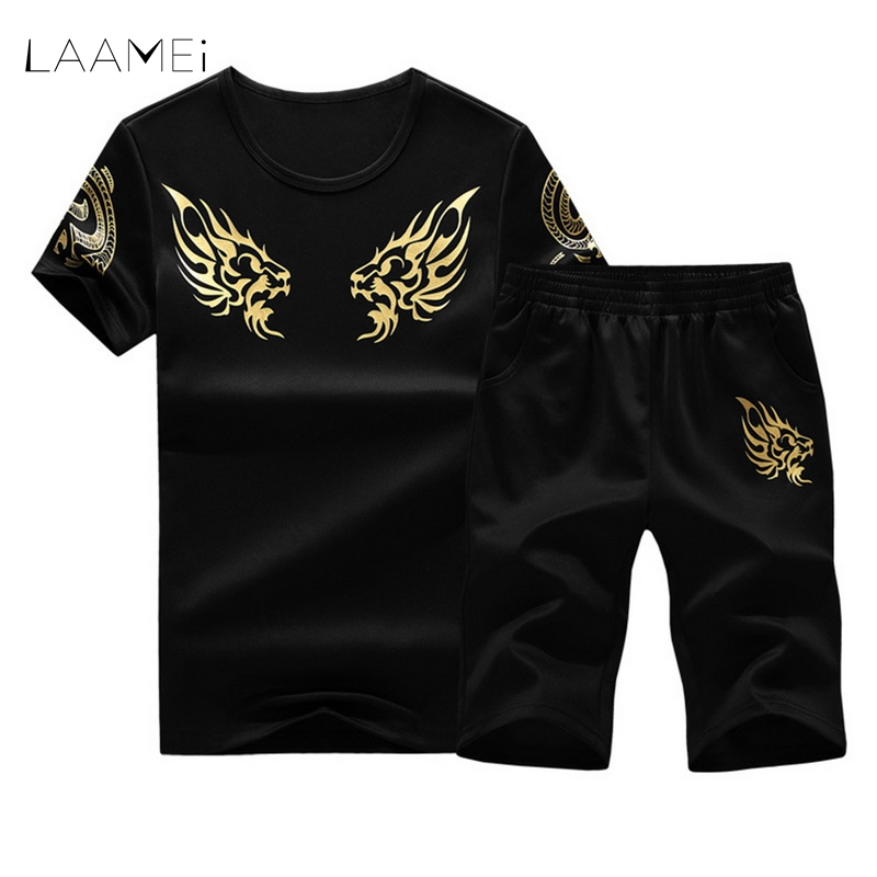 LAAMEI 2018 New Summer Sets Mens T Shirt Shorts + Short Pants Fashion Sportswear Male Tracksuit Men Casual Brand Tee Shirts Set