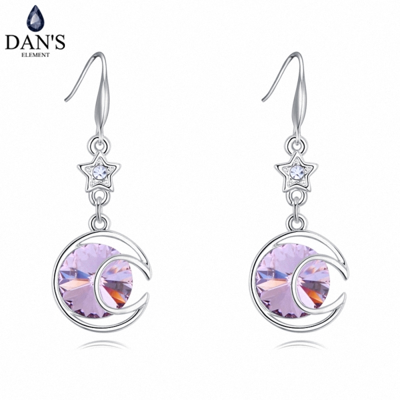 DANS 4 Colors Real Austrian crystals Stud earrings for women Earrings s New Sale Hot Round 127997