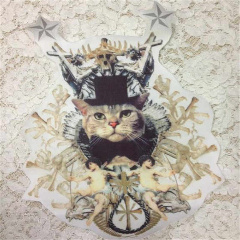 Fashion Patch Clothes 31CM Angel Cat Stickers Thermal Transfer Printing Iron on patches for clothing T shirt Women Free Shipping