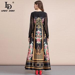 Image 2 - LD LINDA DELLA  Spring Fashion Runway Vintage Maxi Dresses Womens Long Sleeve Retro Floral Print Holiday Party Long Dress