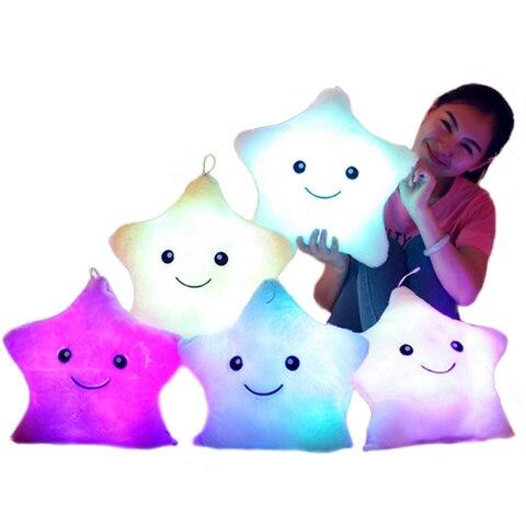5 cores conduziu a luz de estrelas da musica de pelucia almofadas travesseiros luminosa brilhante